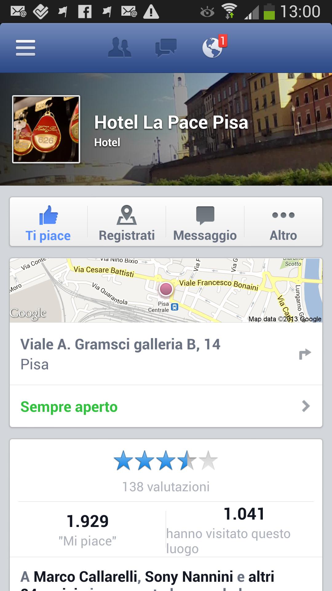 Vota Hotel su Facebook