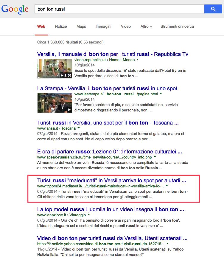 risultati sulla serp di Google