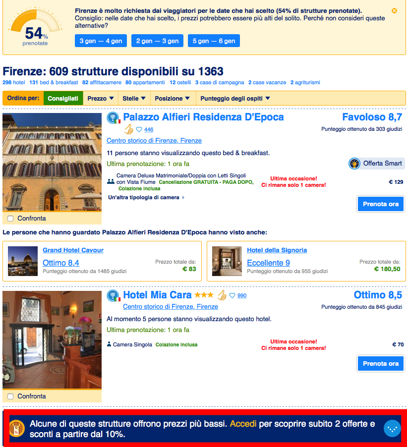 Booking.com e avviso prezzi