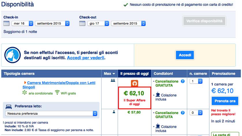 Booking.com senza carta di credito