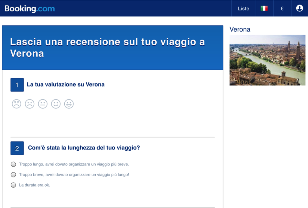Booking.com e la recensione della destinazione