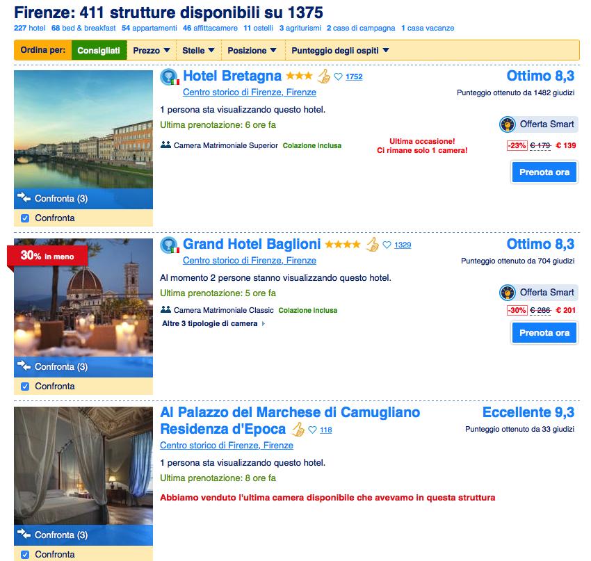Booking.com e confronto