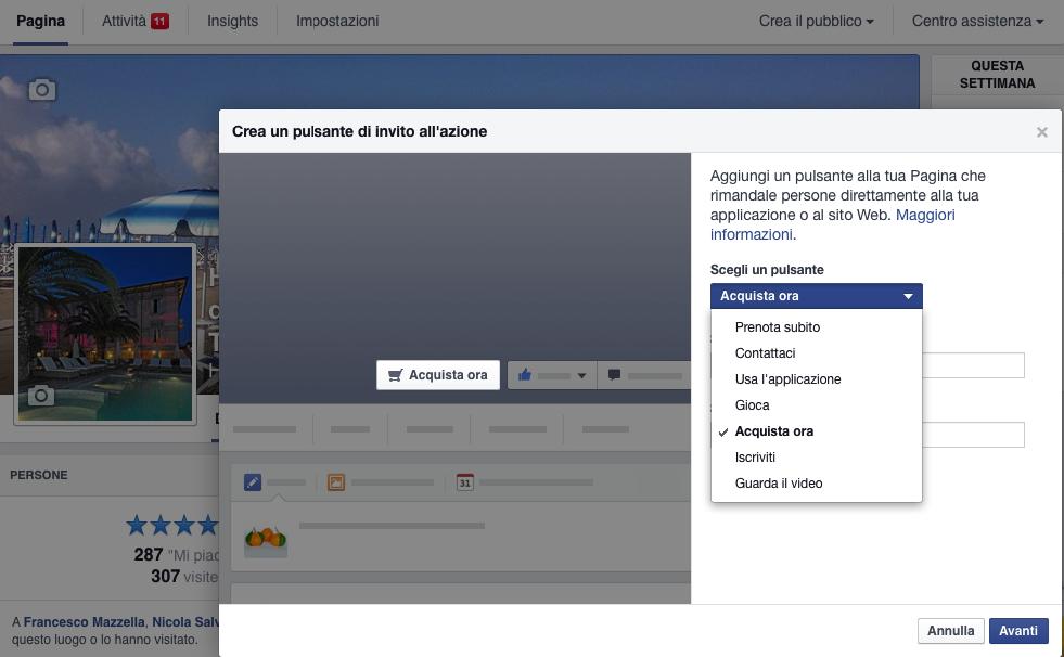 Il pulsante prenota subito sulla copertina di Facebook