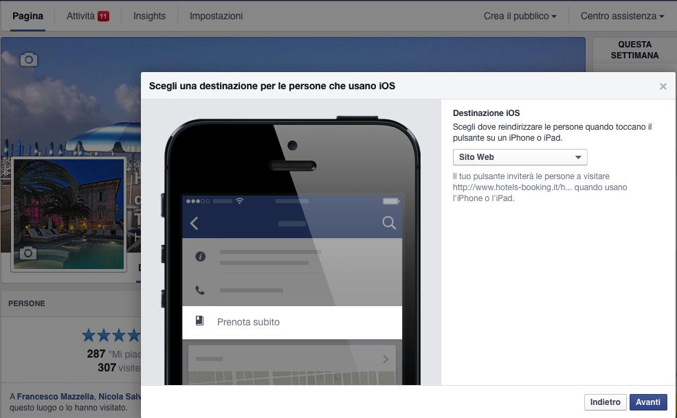 Facebook abilita il prenota subito