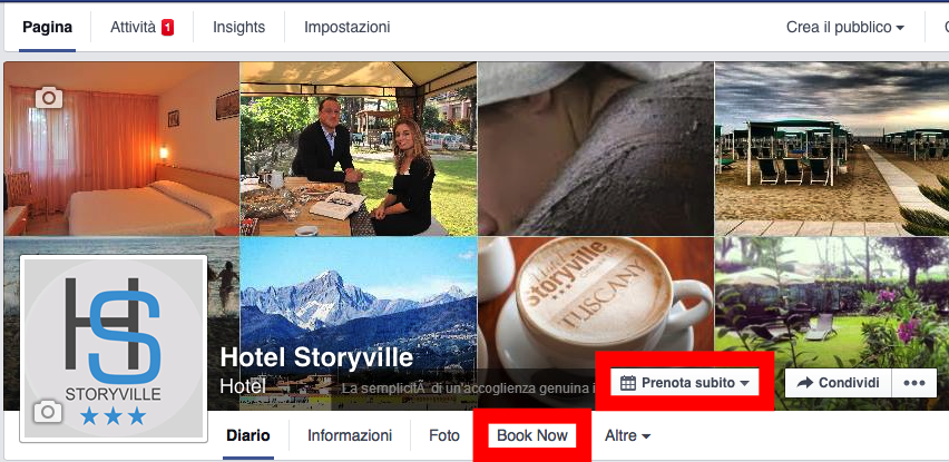 Pulsante Book Now su Facebook