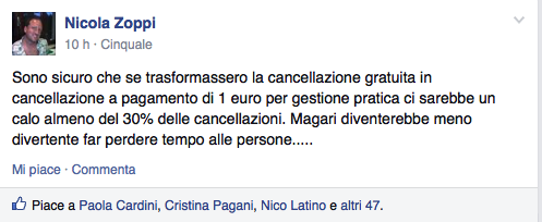 Le cancellazioni da Booking.com