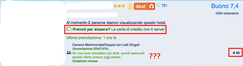 Booking.com non rimborsabile