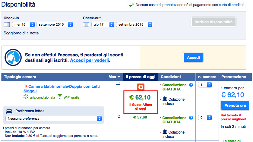 Booking.com senza carta di credito