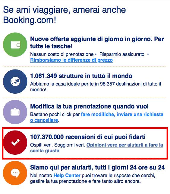 Booking.com permette la condivisione della recensione