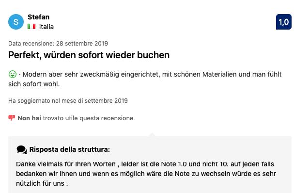 Giudizio Booking.com errato